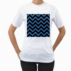 Chevron9 Black Marble & Blue Colored Pencil Women s T Shirt (white) (two Sided) by trendistuff