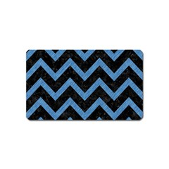 Chevron9 Black Marble & Blue Colored Pencil Magnet (name Card) by trendistuff