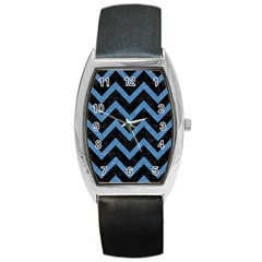 Chevron9 Black Marble & Blue Colored Pencil Barrel Style Metal Watch by trendistuff