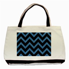 Chevron9 Black Marble & Blue Colored Pencil Basic Tote Bag by trendistuff