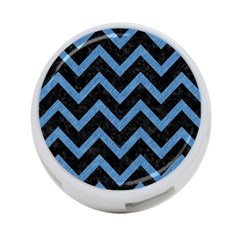 Chevron9 Black Marble & Blue Colored Pencil 4 Port Usb Hub (two Sides) by trendistuff