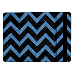 Chevron9 Black Marble & Blue Colored Pencil Samsung Galaxy Tab Pro 12 2  Flip Case by trendistuff