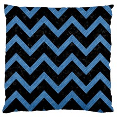 Chevron9 Black Marble & Blue Colored Pencil Large Flano Cushion Case (one Side) by trendistuff