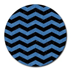 Chevron3 Black Marble & Blue Colored Pencil Round Mousepad