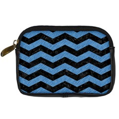 Chevron3 Black Marble & Blue Colored Pencil Digital Camera Leather Case by trendistuff