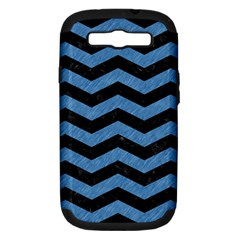 Chevron3 Black Marble & Blue Colored Pencil Samsung Galaxy S Iii Hardshell Case (pc+silicone) by trendistuff