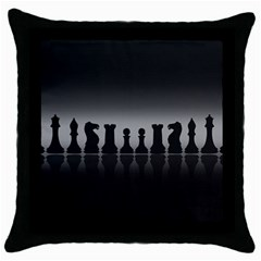 Chess Pieces Throw Pillow Case (black) by Valentinaart