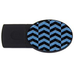 Chevron2 Black Marble & Blue Colored Pencil Usb Flash Drive Oval (2 Gb)