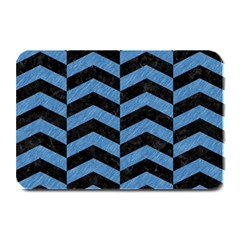 Chevron2 Black Marble & Blue Colored Pencil Plate Mat by trendistuff