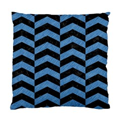 Chevron2 Black Marble & Blue Colored Pencil Standard Cushion Case (one Side) by trendistuff