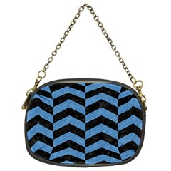Chevron2 Black Marble & Blue Colored Pencil Chain Purse (two Sides) by trendistuff