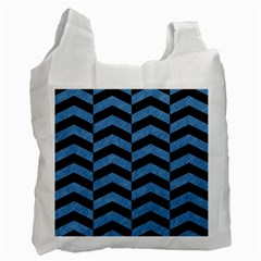 Chevron2 Black Marble & Blue Colored Pencil Recycle Bag (two Side) by trendistuff