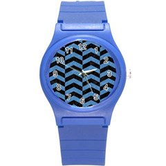 Chevron2 Black Marble & Blue Colored Pencil Round Plastic Sport Watch (s) by trendistuff