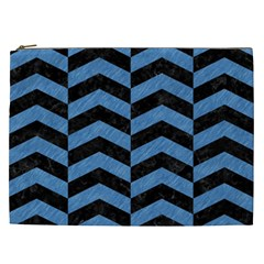 Chevron2 Black Marble & Blue Colored Pencil Cosmetic Bag (xxl) by trendistuff