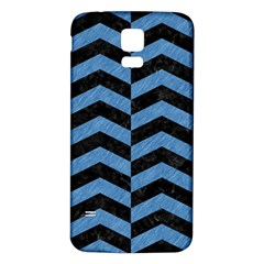 Chevron2 Black Marble & Blue Colored Pencil Samsung Galaxy S5 Back Case (white) by trendistuff