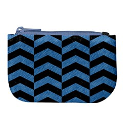 Chevron2 Black Marble & Blue Colored Pencil Large Coin Purse