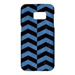 Chevron2 Black Marble & Blue Colored Pencil Samsung Galaxy S7 Hardshell Case  by trendistuff