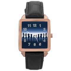 Chess Pieces Rose Gold Leather Watch  by Valentinaart