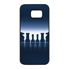 Chess Pieces Samsung Galaxy S7 Edge Black Seamless Case by Valentinaart
