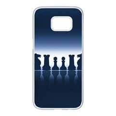 Chess Pieces Samsung Galaxy S7 Edge White Seamless Case by Valentinaart