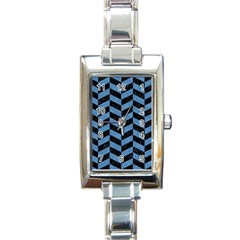 Chevron1 Black Marble & Blue Colored Pencil Rectangle Italian Charm Watch by trendistuff
