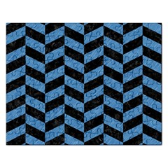 Chevron1 Black Marble & Blue Colored Pencil Jigsaw Puzzle (rectangular) by trendistuff