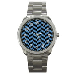 Chevron1 Black Marble & Blue Colored Pencil Sport Metal Watch by trendistuff