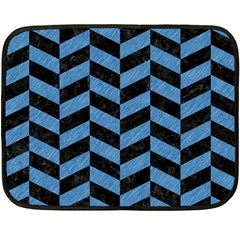 Chevron1 Black Marble & Blue Colored Pencil Double Sided Fleece Blanket (mini) by trendistuff