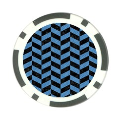 Chevron1 Black Marble & Blue Colored Pencil Poker Chip Card Guard (10 Pack) by trendistuff