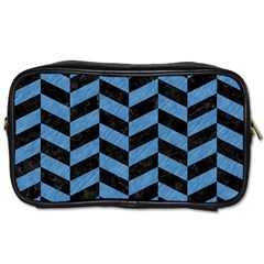 Chevron1 Black Marble & Blue Colored Pencil Toiletries Bag (one Side) by trendistuff
