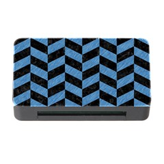 Chevron1 Black Marble & Blue Colored Pencil Memory Card Reader With Cf by trendistuff
