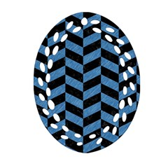 Chevron1 Black Marble & Blue Colored Pencil Oval Filigree Ornament (two Sides)