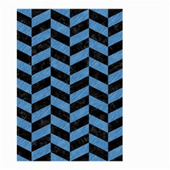Chevron1 Black Marble & Blue Colored Pencil Small Garden Flag (two Sides) by trendistuff