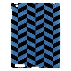 Chevron1 Black Marble & Blue Colored Pencil Apple Ipad 3/4 Hardshell Case by trendistuff