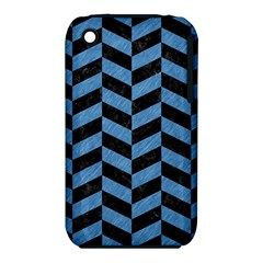Chevron1 Black Marble & Blue Colored Pencil Apple Iphone 3g/3gs Hardshell Case (pc+silicone) by trendistuff