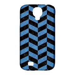 Chevron1 Black Marble & Blue Colored Pencil Samsung Galaxy S4 Classic Hardshell Case (pc+silicone) by trendistuff