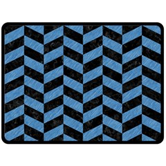 Chevron1 Black Marble & Blue Colored Pencil Double Sided Fleece Blanket (large) by trendistuff