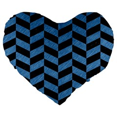 Chevron1 Black Marble & Blue Colored Pencil Large 19  Premium Flano Heart Shape Cushion by trendistuff