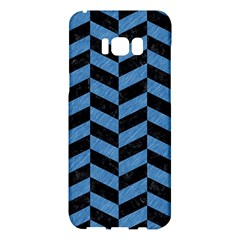 Chevron1 Black Marble & Blue Colored Pencil Samsung Galaxy S8 Plus Hardshell Case
