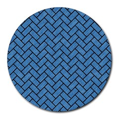 Brick2 Black Marble & Blue Colored Pencil (r) Round Mousepad