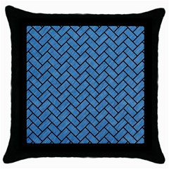 Brick2 Black Marble & Blue Colored Pencil (r) Throw Pillow Case (black) by trendistuff