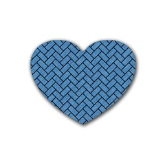 Brick2 Black Marble & Blue Colored Pencil (r) Rubber Coaster (heart) by trendistuff