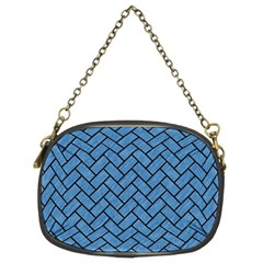 Brick2 Black Marble & Blue Colored Pencil (r) Chain Purse (two Sides) by trendistuff