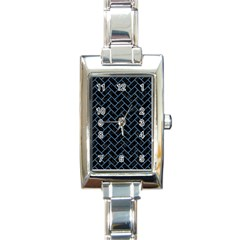 Brick2 Black Marble & Blue Colored Pencil Rectangle Italian Charm Watch by trendistuff