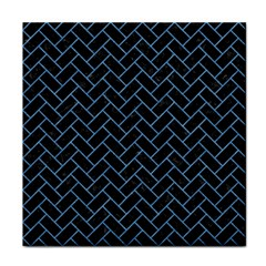 Brick2 Black Marble & Blue Colored Pencil Tile Coaster by trendistuff
