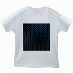 Brick2 Black Marble & Blue Colored Pencil Kids White T Shirt by trendistuff