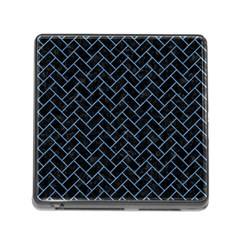 Brick2 Black Marble & Blue Colored Pencil Memory Card Reader (square) by trendistuff