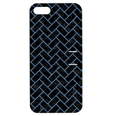 Brick2 Black Marble & Blue Colored Pencil Apple Iphone 5 Hardshell Case With Stand by trendistuff