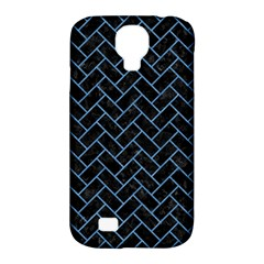 Brick2 Black Marble & Blue Colored Pencil Samsung Galaxy S4 Classic Hardshell Case (pc+silicone)