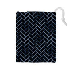 Brick2 Black Marble & Blue Colored Pencil Drawstring Pouch (large) by trendistuff